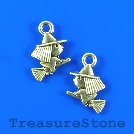 Charm, silver-plated, 11x13mm witch on broom. Pkg of 15.