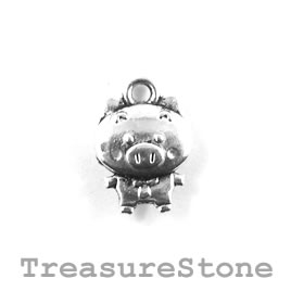 Charm/Pendant, silver-plated, 11x13mm Pig. Pack of 10.