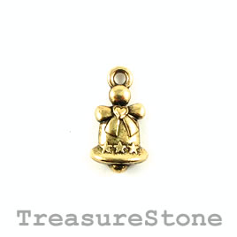 Charm, gold-plated, 14mm Christams bell.Pkg of 14