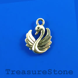 Charm, silver-finished, 13mm swan. Pkg of 12.