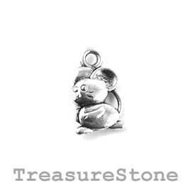 Charm/Pendant, silver-plated, 9x12mm rat. Pack of 12.