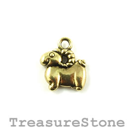 Charm/Pendant, gold-colored, 12mm sheep. Pack of 10.