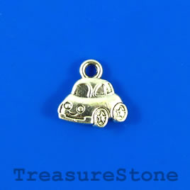 Charm, silver-finished, 8x12mm beetle car. Pkg of 10.