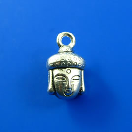 Charm,silver-finished, 8x10mm buddha head. Pkg of 8.