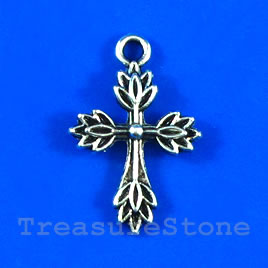 Pendant/charm, silver-finished,17x22mm cross. Pkg of 8.