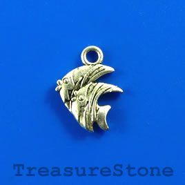 Charm, silver-finished, 13x15mm fish. Pkg of 12.