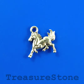 Charm, silver-finished, 13x14mm horse. Pkg of 12.