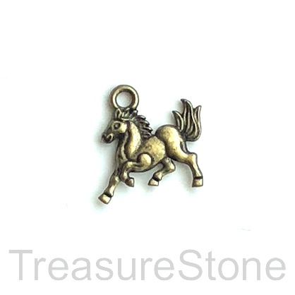Charm, brass-finished, 13x14mm horse. Pkg of 12.
