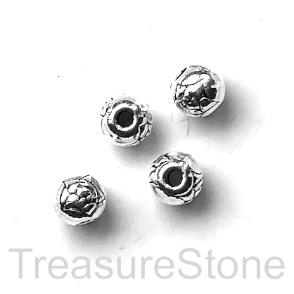 Bead, antiqued silver-finished, 6mm round. Pkg of 15.