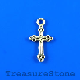 Charm/pendant, silver-plated, 11x18mm cross. Pkg of 12.