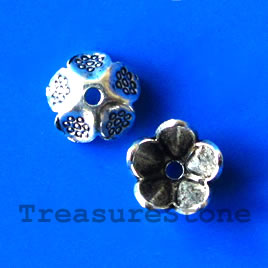 Bead cap, antiqued silver-finished, 10mm. Pkg of 18