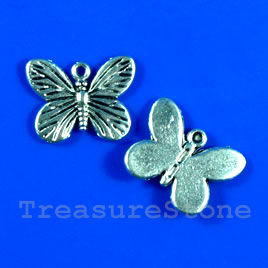 Pendant/charm, 17x14mm butterfly. Pkg of 12.