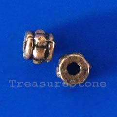 Bead, antiqued copper finished, 3x2mm tube. Pkg of 30.
