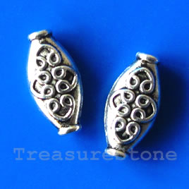 Bead, antiqued silver-finished, 5x15mm. Pkg of 10.
