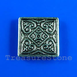 Bead, antiqued silver-finished, 20mm flat square. Pkg of 5.