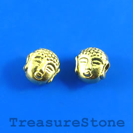 Bead, gold-plated, 7mm buddha head. Pkg of 14