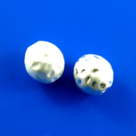 Bead, white pearlized, 10x11mm. Pkg of 3.
