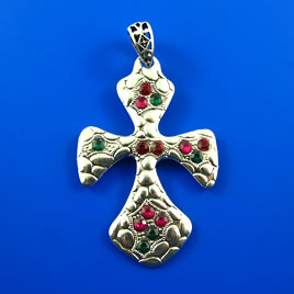 Pendant, silver-finished, 62mm cross with crystal. Each.