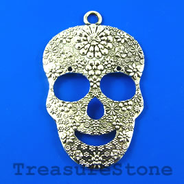 Pendant, silver-finished, 42x60 skull. Sold individually.