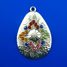 Pendant, silver-finished, 46mm with crystal. Each.