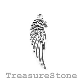 Charm/Pendant, silver-plated, 30mm Angel Wing. Pack of 5.