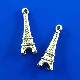 Charm, silver-finished, 9x21mm Eiffel Tower. Pkg of 5.