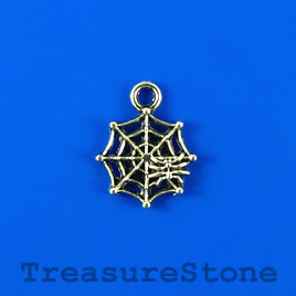 Charm, silver-plated, 13mm spider and web. Pkg of 12.
