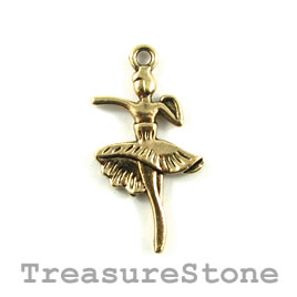 Pendant/charm, Gold-plated, 15x25mm Bellerina/dancer. Pkg of 6.