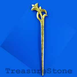 Hair stick, brass colored, 160mm. Sold individually.