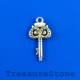 Charm/pendant, 10x19mm owl key. Pkg of 12.