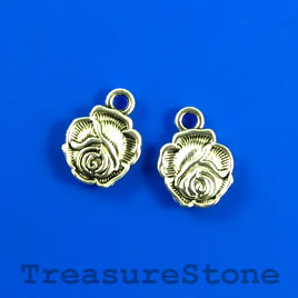 Charm, silver-plated, 10mm flower. Pkg of 15.