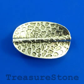 Bead, silver colored, 18x28mm waved oval. Pkg of 2.