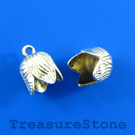 Bead/charm, antiqued silver-finished, 13mm cord end. Pkg of 6.