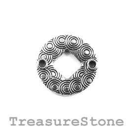 Bead/link, silver-plated, 19mm circle. Pkg of 6.