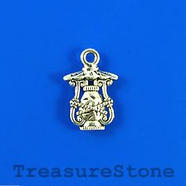Charm, silver-finished, 11x14mm lantern. Pkg of 15.