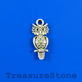 Charm/pendant, 9x19mm owl. Pkg of 14.