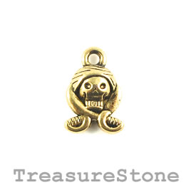 Charm/Pendant, gold-plated, 11mm. Pack of 12.
