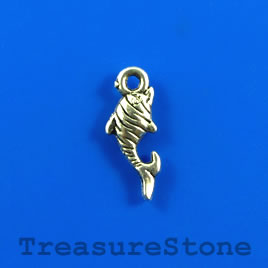 Charm, silver-finished, 7x15mm fish. Pkg of 15.