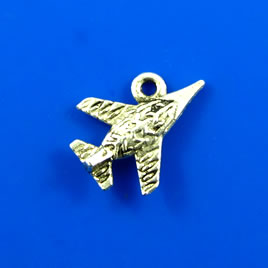 Charm, silver-finished, 13x18mm air plane. Pkg of 10.