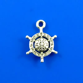 Charm, silver-finished, 14mm helm wheel. Pkg of 10.
