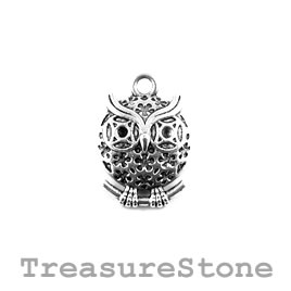 Charm/Pendant, 16mm owl. Pack of 8.