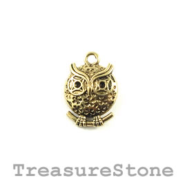 Charm/Pendant, gold-plated, 16mm owl. Pack of 8