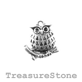 Charm/Pendant, silver-plated, 16mm owl. Pkg of 8.