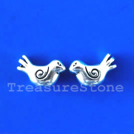 Bead, antiqued silver-finished,10x15x5mm bird. Pkg of 10.