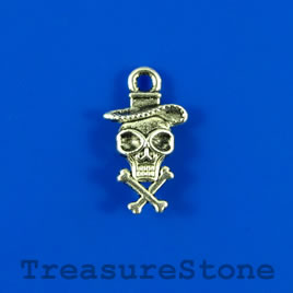Charm, 10x15mm cowboy skull with crossbones. Pkg of 15