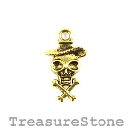 Charm,gold-plated,10x15mm cowboy skull with crossbones.Pkg of 15