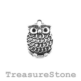 Charm/Pendant, silver-plated, 16mm owl. Pack of 8.