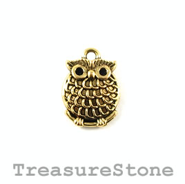 Charm/pendant, gold-plated, 16mm owl. Pkg of 8.