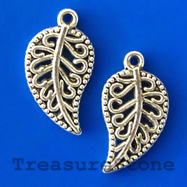 Charm/pendant, silver-plated, 10x16mm filigree leaf. Pkg of 15.