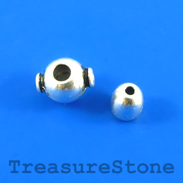 Bead, silver-finished, 8mm Guru bead set. Four sets.